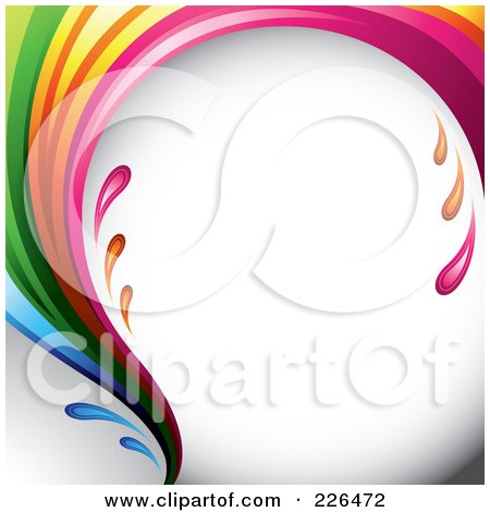 Royalty-Free (RF) Clipart Illustration of a Liquid Rainbow Wave Splashing Around Shaded White by TA Images