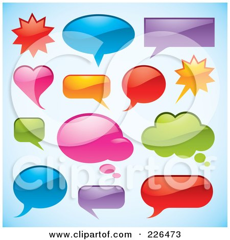 Royalty-Free (RF) Clipart Illustration of a Digital Collage Of Shiny Chat Window Shapes On Gradient Blue by TA Images