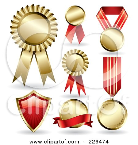 Royalty-Free (RF) Clipart Illustration of a Digital Collage Of 7 Gold And Red Award Ribbons And A Shield by TA Images