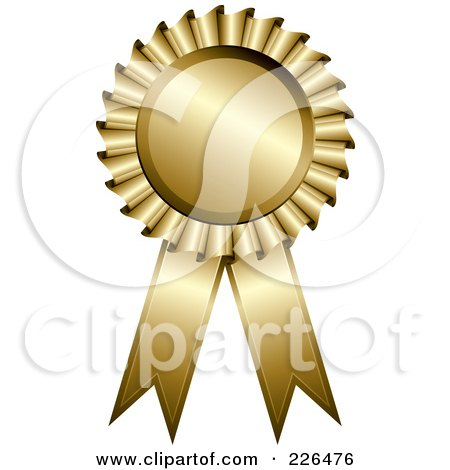Royalty-Free (RF) Clipart Illustration of a 3d Golden Award Ribbon by TA Images
