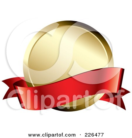 Royalty-Free (RF) Clipart Illustration of a 3d Red Banner Over A Golden Award Medal by TA Images