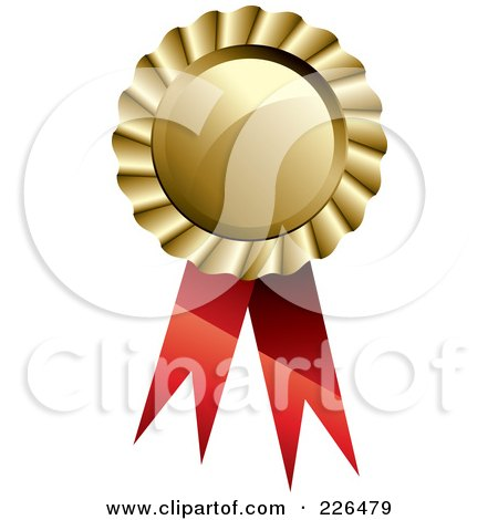Royalty-Free (RF) Clipart Illustration of a 3d Circular Gold Medal With Red Ribbons by TA Images