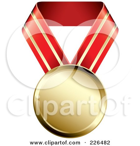 Royalty-Free (RF) Clipart Illustration of a 3d Gold Medal On A Red And Gold Ribbon by TA Images