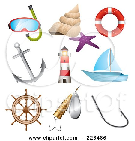 Royalty-Free (RF) Clipart Illustration of a Digital Collage Of Sea And Nautical Icons by TA Images