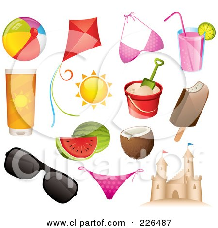 Royalty-Free (RF) Clipart Illustration of a Digital Collage Of Summer And Beach Icons by TA Images