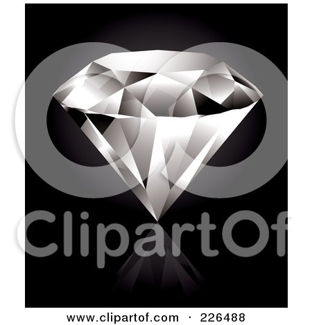 Royalty-Free (RF) Clipart Illustration of a Perfect Diamond On A Reflective Black Background by TA Images