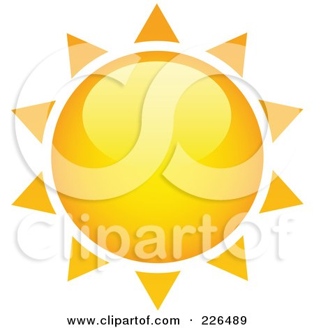 Royalty-Free (RF) Clipart Illustration of a 3d Shiny Yellow And Orange Sun With Spiked Rays by TA Images