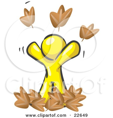 Clipart Illustration of a Carefree Yellow Man Tossing Up Autumn Leaves In The Air, Symbolizing Happiness And Freedom by Leo Blanchette