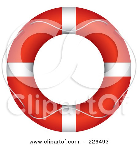 Royalty-Free (RF) Clipart Illustration of a Rope Around A Red Life Buoy by TA Images