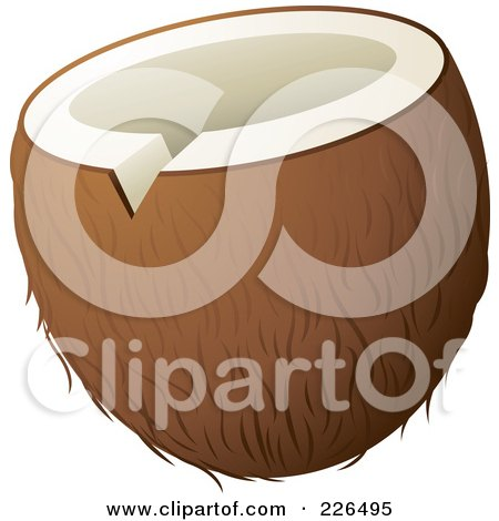 Royalty-Free (RF) Clipart Illustration of a Coconut With The Top Sliced To Drink From by TA Images