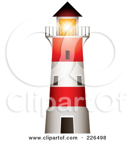 Red And White Lighthouse With A Bright Beacon Shining Over The Balcony Posters, Art Prints