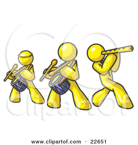 Clipart Illustration of Three Yellow Men Playing Flutes and Drums at a Music Concert by Leo Blanchette