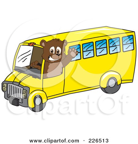 Royalty-Free (RF) Clipart Illustration of a Bear Cub School Mascot Waving And Driving A School Bus by Toons4Biz