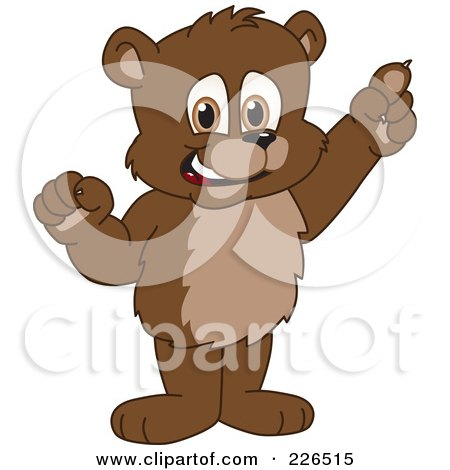 Royalty-Free (RF) Clipart Illustration of a Bear Cub School Mascot With An Idea by Toons4Biz