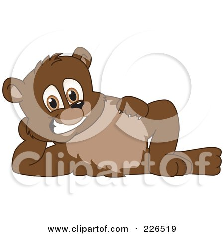 Royalty-Free (RF) Clipart Illustration of a Bear Cub School Mascot Reclined by Toons4Biz