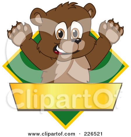 Royalty-Free (RF) Clipart Illustration of a Bear Cub School Mascot Logo Over A Green Diamond And Blank Gold Banner by Toons4Biz