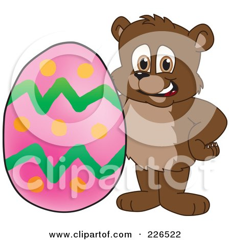 Royalty-Free (RF) Clipart Illustration of a Bear Cub School Mascot With An Easter Egg by Toons4Biz