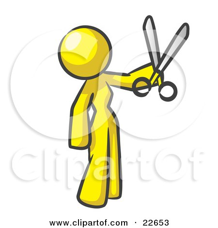 Clipart Illustration of a Yellow Woman Standing And Holing Up A Pair Of Scissors by Leo Blanchette