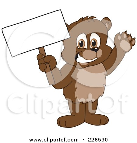 Royalty-Free (RF) Clipart Illustration of a Bear Cub School Mascot Holding Up A Blank Sign by Toons4Biz
