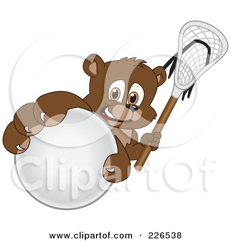 Royalty-Free (RF) Clipart Illustration of a Bear Cub School Mascot Grabbing A Lacrosse Ball by Toons4Biz
