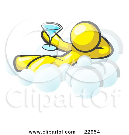 Clipart Illustration of a Relaxed Yellow Man Drinking A Martini And Kicking Back On Cloud Nine by Leo Blanchette