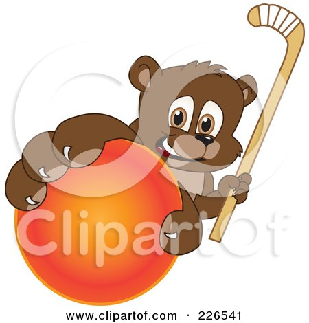 Royalty-Free (RF) Clipart Illustration of a Bear Cub School Mascot Grabbing A Hockey Ball And Holding A Stick by Toons4Biz