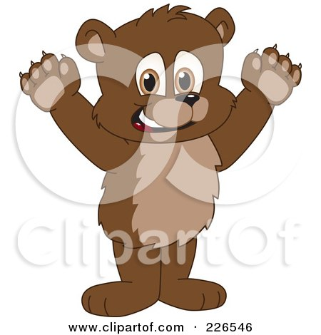 Royalty-Free (RF) Clipart Illustration of a Bear Cub School Mascot Holding His Paws Up by Toons4Biz