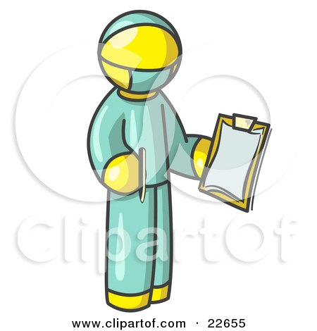 Clipart Illustration of a Yellow Surgeon Man in Green Scrubs, Holding a Pen and Clipboard by Leo Blanchette