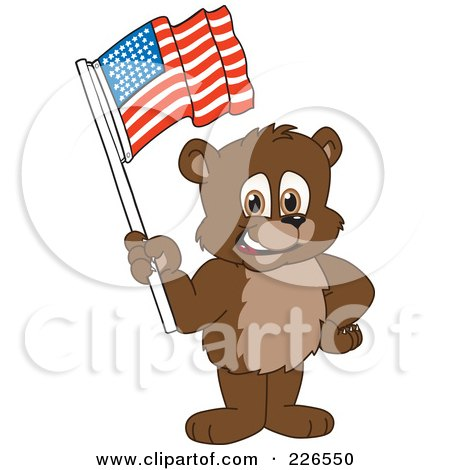 Royalty-Free (RF) Clipart Illustration of a Bear Cub School Mascot Waving An American Flag by Toons4Biz