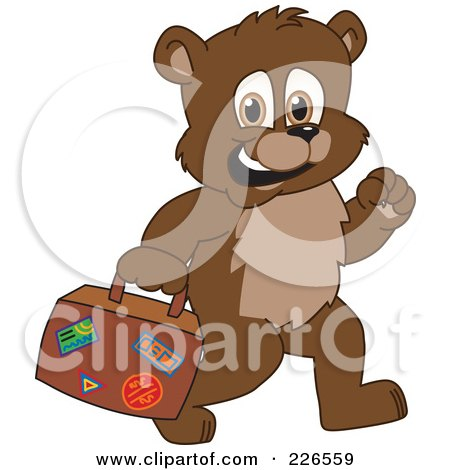 Royalty-Free (RF) Clipart Illustration of a Bear Cub School Mascot Carrying A Suitcase by Toons4Biz