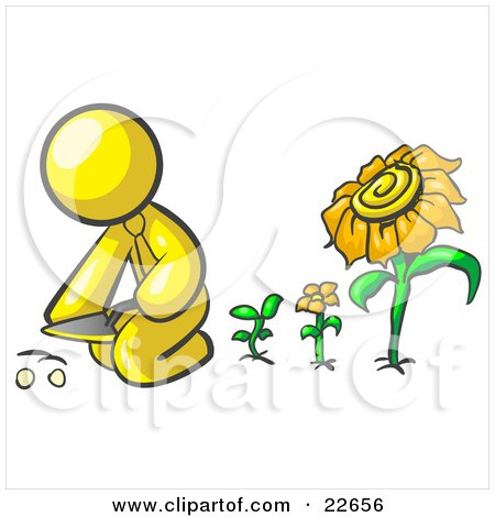 Clipart Illustration of a Yellow Man Kneeling By Growing Sunflowers To Plant Seeds In A Dirt Hole In A Garden by Leo Blanchette