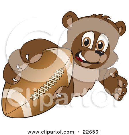 Royalty-Free (RF) Clipart Illustration of a Bear Cub School Mascot Grabbing A Football by Toons4Biz