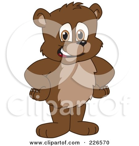 Royalty-Free (RF) Clipart Illustration of a Bear Cub School Mascot Standing With His Hands On His Hips by Toons4Biz