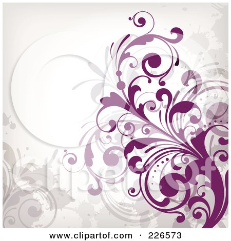 Royalty-Free (RF) Clipart Illustration of a Grungy Floral Background - 14 by OnFocusMedia