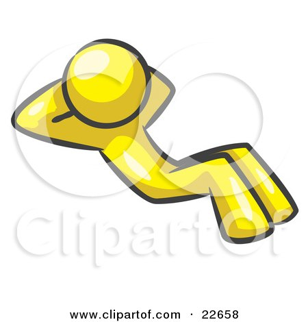 Clipart Illustration of a Yellow Man Doing Sit Ups While Strength Training by Leo Blanchette