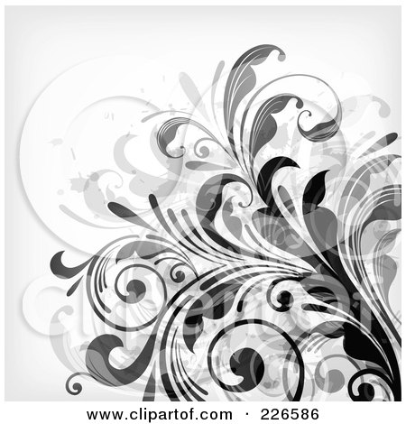 Royalty-Free (RF) Clipart Illustration of a Grungy Floral Background - 6 by OnFocusMedia