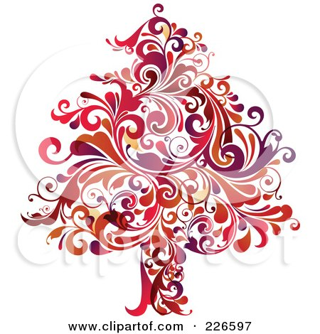 Royalty-Free (RF) Clipart Illustration of a Red Christmas Tree Of Red Flourishes - 2 by OnFocusMedia