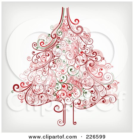 Royalty-Free (RF) Clipart Illustration of a Red And Green Christmas Tree With Swirl Flourishes - 1 by OnFocusMedia