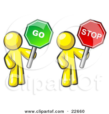 Clipart Illustration of Yellow Men Holding Red And Green Stop And Go Signs by Leo Blanchette