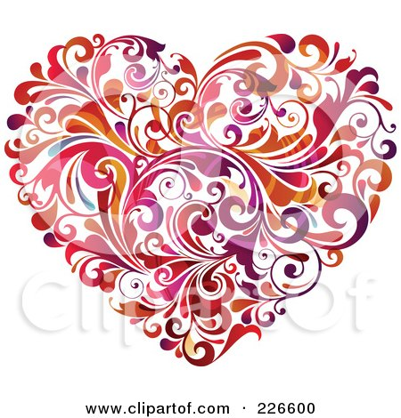 Royalty-Free (RF) Clipart Illustration of a Heart Made Of Red, Orange And Purple Flourishes by OnFocusMedia