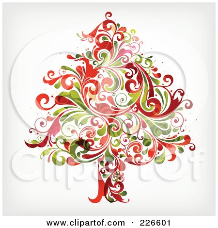 Royalty-Free (RF) Clipart Illustration of a Red And Green Christmas Tree Of Flourishes - 1 by OnFocusMedia
