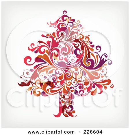 Royalty-Free (RF) Clipart Illustration of a Red Christmas Tree Of Red Flourishes - 1 by OnFocusMedia