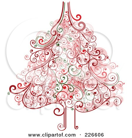 Royalty-Free (RF) Clipart Illustration of a Red And Green Christmas Tree With Swirl Flourishes - 2 by OnFocusMedia
