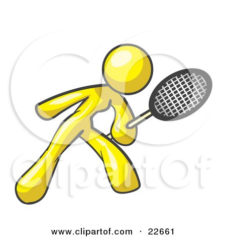 Clipart Illustration of a Yellow Woman Preparing To Hit A Tennis Ball With A Racquet by Leo Blanchette