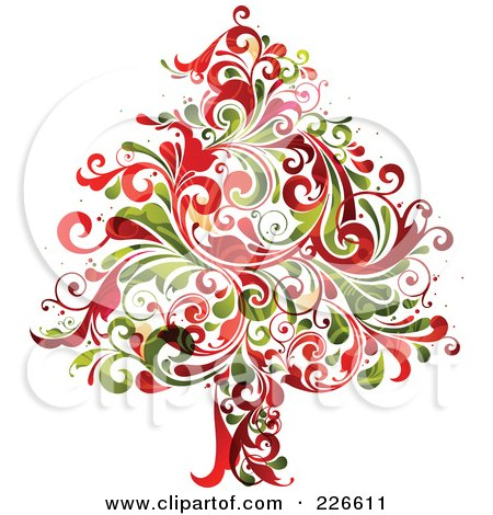 Royalty-Free (RF) Clipart Illustration of a Red And Green Christmas Tree Of Flourishes - 2 by OnFocusMedia