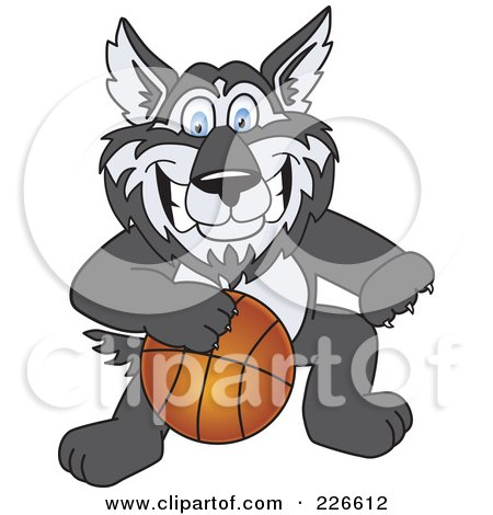 Royalty-Free (RF) Clipart Illustration of a Husky School Mascot Playing Basketball by Toons4Biz