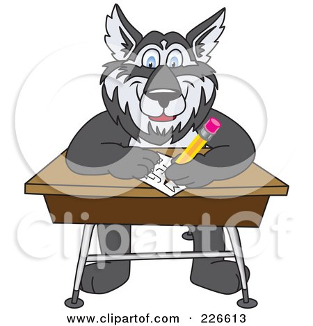 Royalty-Free (RF) Clipart Illustration of a Husky School Mascot Writing On A School Desk by Toons4Biz