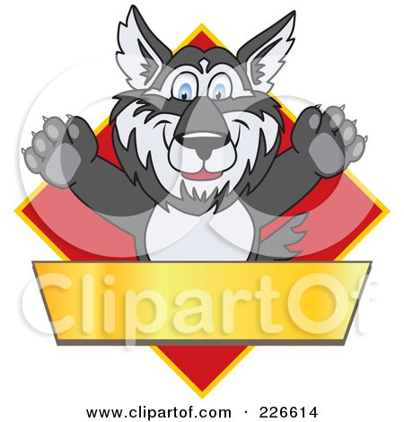 Royalty-Free (RF) Clipart Illustration of a Husky School Mascot Logo Over A Red Diamond With A Blank Gold Banner by Toons4Biz