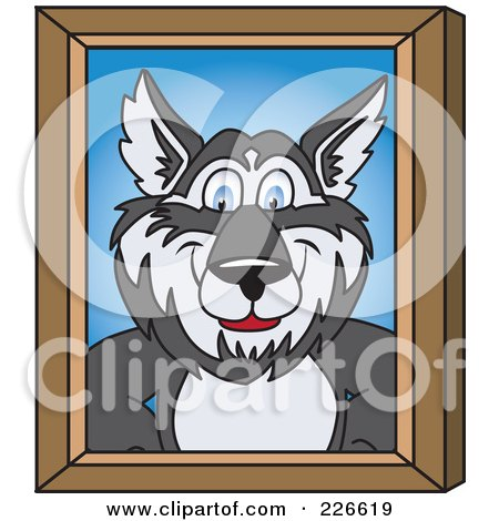Royalty-Free (RF) Clipart Illustration of a Husky School Mascot Portrait by Toons4Biz