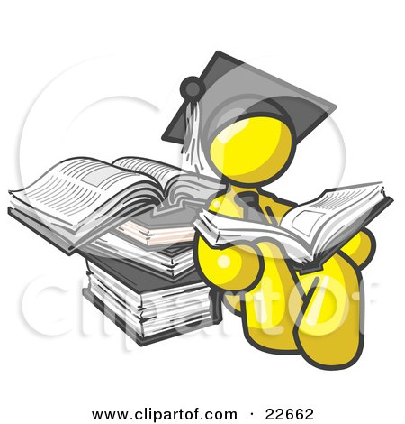 Clipart Illustration of a Yellow Male Student in a Graduation Cap, Reading a Book and Leaning Against a Stack of Books by Leo Blanchette